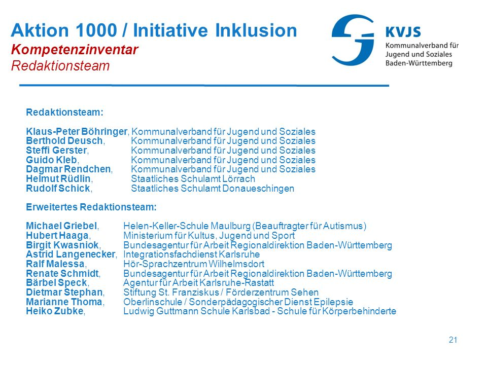 21 Aktion 1000 / Initiative Inklusion Kompetenzinventar Redaktionsteam Redaktionsteam: Klaus-Peter Böhringer, Kommunalverband für Jugend und Soziales