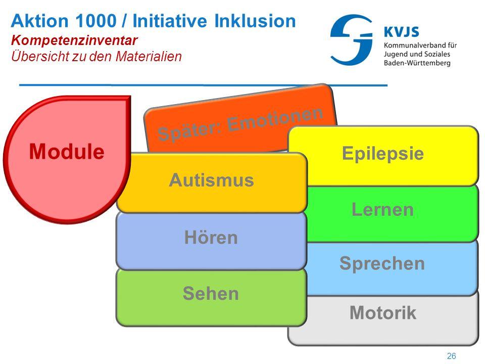 Motorik Später: Emotionen Sprechen Lernen Epilepsie Sehen Hören Autismus Module Aktion 1000 / Initiative Inklusion Kompetenzinventar Übersicht zu den Materialien 26
