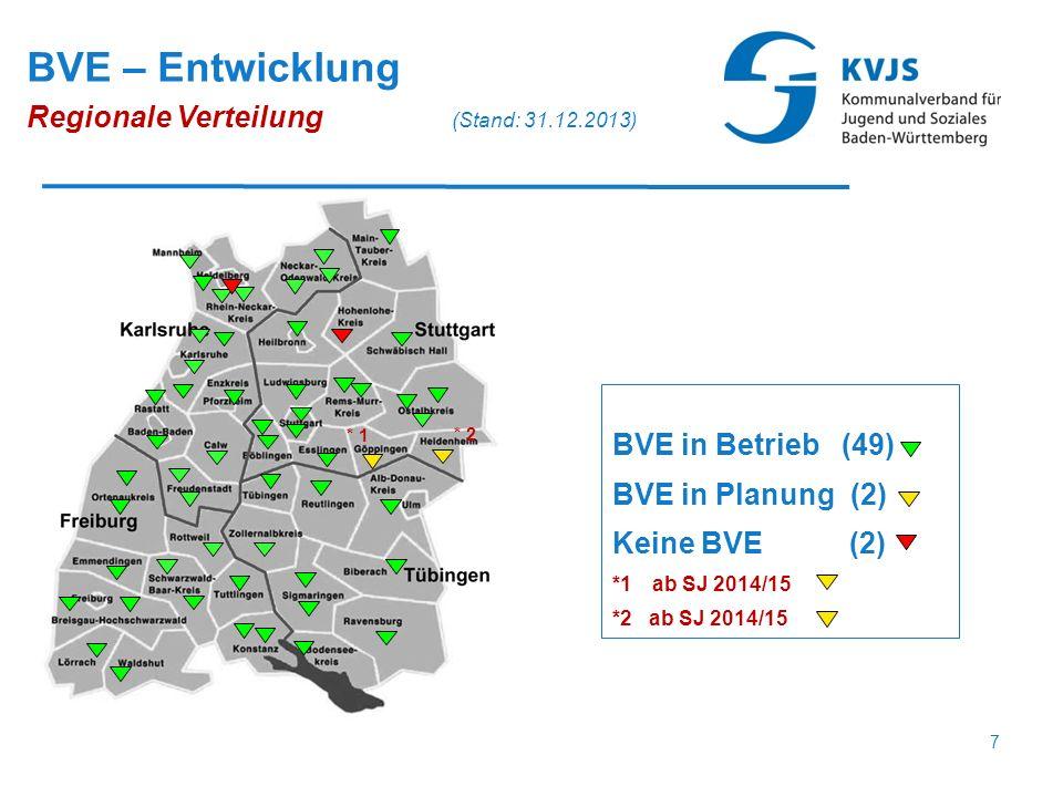 BVE in Betrieb (49) BVE in Planung (2) Keine BVE (2) *1ab SJ 2014/15 *2 ab SJ 2014/15 BVE – Entwicklung Regionale Verteilung (Stand: 31.12.2013) * 1 *
