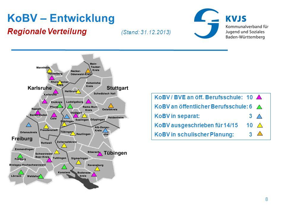 KoBV / BVE an öff. Berufsschule: 10 KoBV an öffentlicher Berufsschule: 6 KoBV in separat: 3 KoBV ausgeschrieben für 14/15 10 KoBV in schulischer Planu