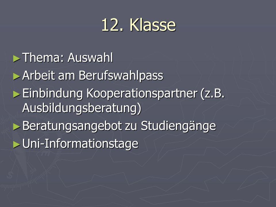 12. Klasse ► Thema: Auswahl ► Arbeit am Berufswahlpass ► Einbindung Kooperationspartner (z.B.