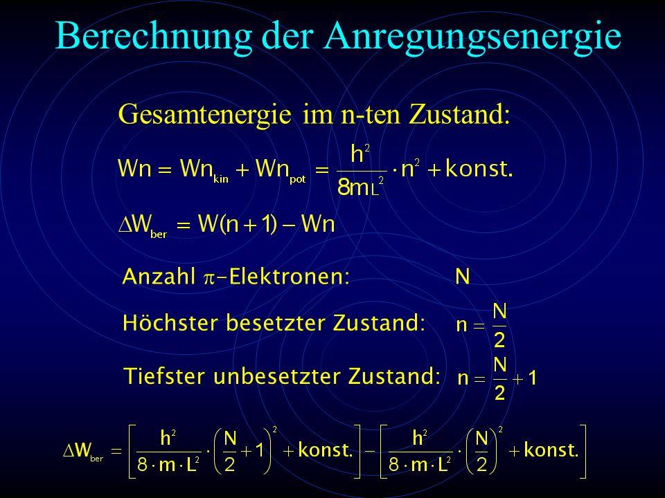 Berechnung der Anregungsenergie Anzahl  -Elektronen: N Höchster besetzter Zustand: Tiefster unbesetzter Zustand: Gesamtenergie im n-ten Zustand: