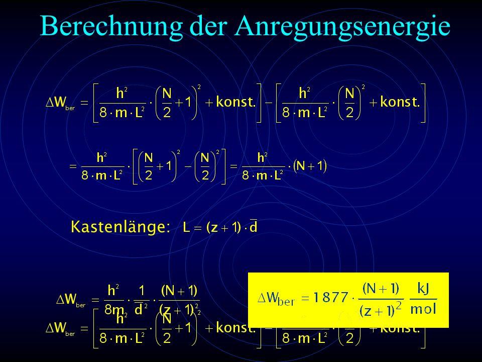Kastenlänge: Berechnung der Anregungsenergie