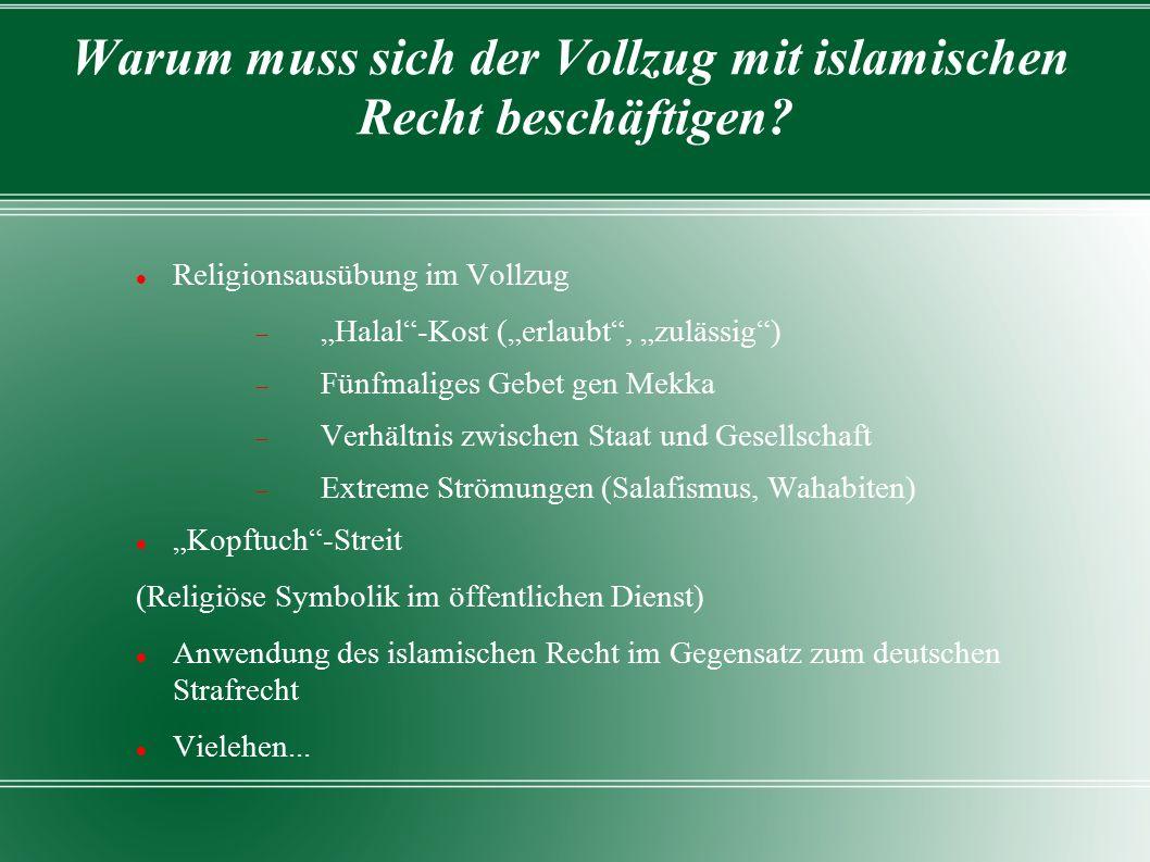 """Islam Islam = """"Unterwerfung (gegenüber Gott) Im 7.Jahrhundert in Arabien durch den Propheten Mohammed gestiftet Fünf Säulen: Schahada (Glaubensbekenntnis), Salat (Pflichtgebet), Zakat (Almosen), Saum (Fasten), Hadsch (Pilgerfahrt) Buchreligion Grundlage: Koran + Hadithe (Berichte über die Verhaltensweise des Propheten) Scharia (""""Weg zur Wasserquelle) = Gesamtheit der Normen Fiqh= islamische Rechtswissenschaft"""