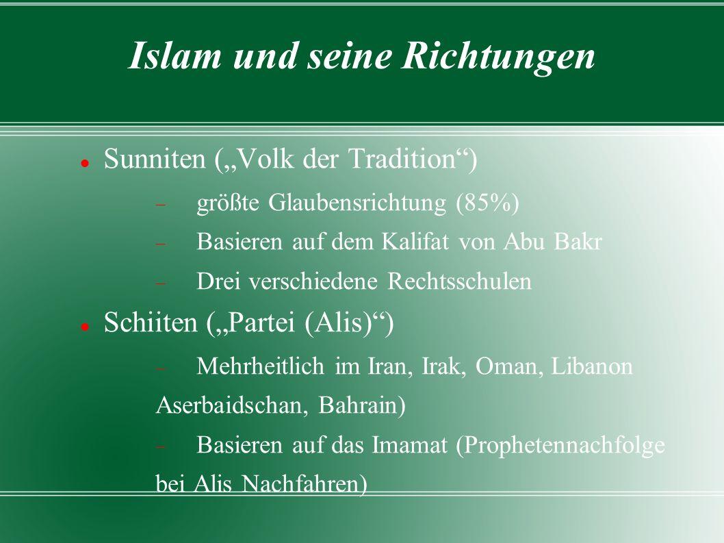 """Islam und seine Richtungen Sunniten (""""Volk der Tradition )  größte Glaubensrichtung (85%)  Basieren auf dem Kalifat von Abu Bakr  Drei verschiedene Rechtsschulen Schiiten (""""Partei (Alis) )  Mehrheitlich im Iran, Irak, Oman, Libanon Aserbaidschan, Bahrain)  Basieren auf das Imamat (Prophetennachfolge bei Alis Nachfahren)"""