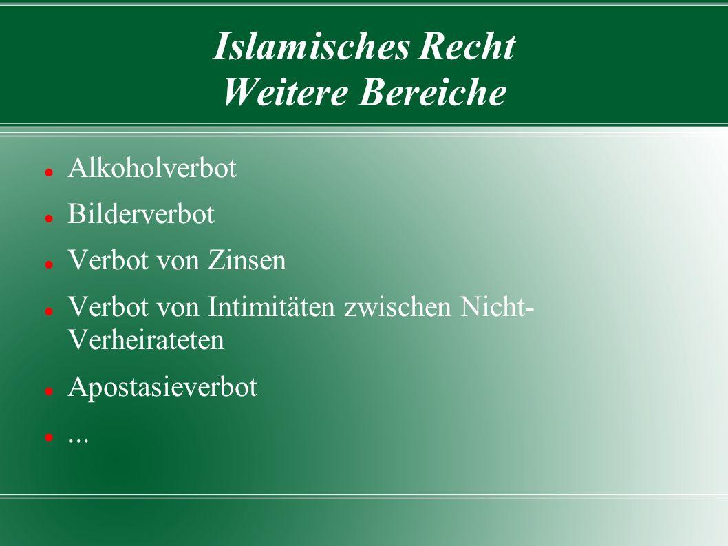 Islamisches Recht Weitere Bereiche Alkoholverbot Bilderverbot Verbot von Zinsen Verbot von Intimitäten zwischen Nicht- Verheirateten Apostasieverbot...