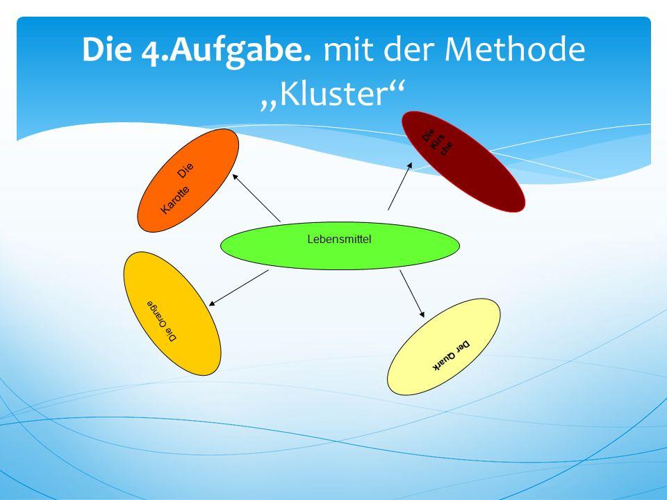 """Die 4.Aufgabe. mit der Methode """"Kluster"""" Lebensmittel Die Orange Der Quark Die Kirs che Die Karotte"""