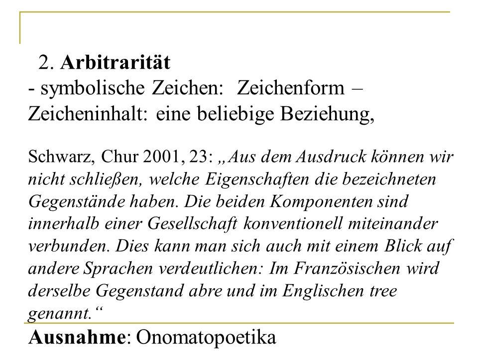 """2. Arbitrarität - symbolische Zeichen: Zeichenform – Zeicheninhalt: eine beliebige Beziehung, Schwarz, Chur 2001, 23: """"Aus dem Ausdruck können wir nic"""