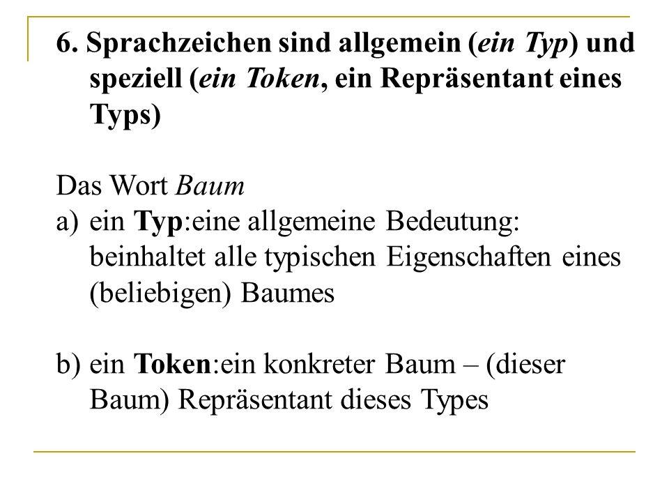 6. Sprachzeichen sind allgemein (ein Typ) und speziell (ein Token, ein Repräsentant eines Typs) Das Wort Baum a)ein Typ:eine allgemeine Bedeutung: bei