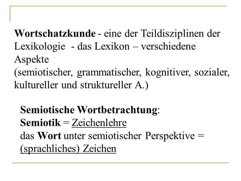 Wortschatzkunde - eine der Teildisziplinen der Lexikologie - das Lexikon – verschiedene Aspekte (semiotischer, grammatischer, kognitiver, sozialer, ku