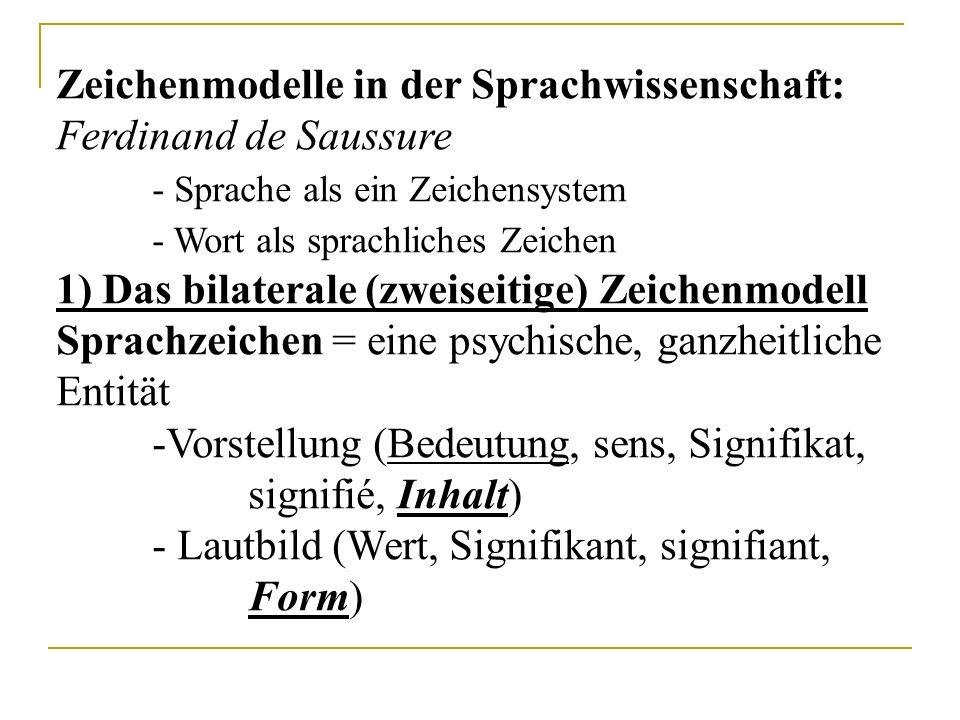 Zeichenmodelle in der Sprachwissenschaft: Ferdinand de Saussure - Sprache als ein Zeichensystem - Wort als sprachliches Zeichen 1) Das bilaterale (zweiseitige) Zeichenmodell Sprachzeichen = eine psychische, ganzheitliche Entität -Vorstellung (Bedeutung, sens, Signifikat, signifié, Inhalt) - Lautbild (Wert, Signifikant, signifiant, Form)