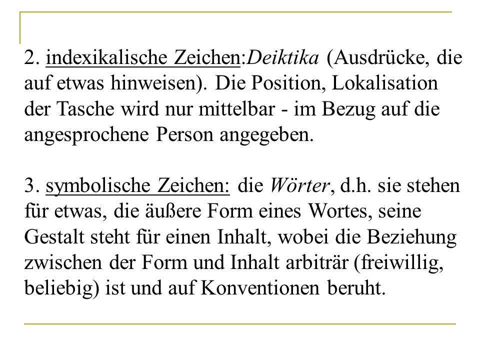 2. indexikalische Zeichen:Deiktika (Ausdrücke, die auf etwas hinweisen). Die Position, Lokalisation der Tasche wird nur mittelbar - im Bezug auf die a
