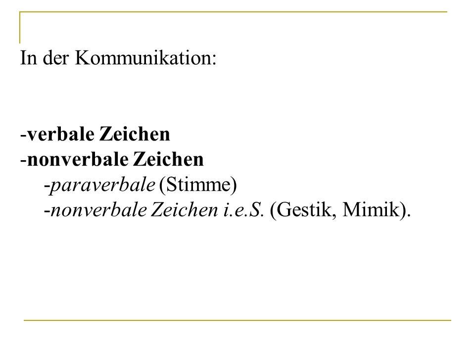 In der Kommunikation: -verbale Zeichen -nonverbale Zeichen -paraverbale (Stimme) -nonverbale Zeichen i.e.S. (Gestik, Mimik).