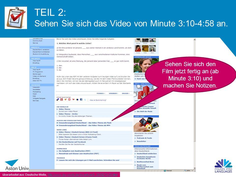 TEIL 2: Sehen Sie sich das Video von Minute 3:10-4:58 an.