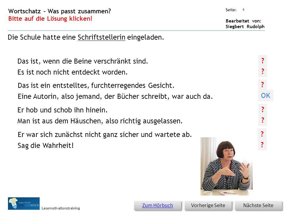 Übungsart: Seite: Bearbeitet von: Siegbert Rudolph Lesemotivationstraining Er war sich zunächst nicht ganz sicher und wartete ab. Sag die Wahrheit! Er