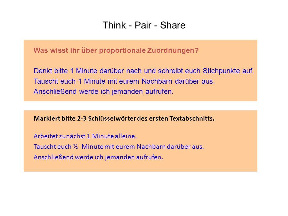 Think - Pair - Share Markiert bitte 2-3 Schlüsselwörter des ersten Textabschnitts. Arbeitet zunächst 1 Minute alleine. Tauscht euch ½ Minute mit eurem