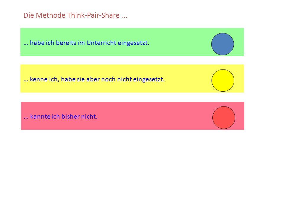 … kenne ich, habe sie aber noch nicht eingesetzt. … habe ich bereits im Unterricht eingesetzt. Die Methode Think-Pair-Share … … kannte ich bisher nich