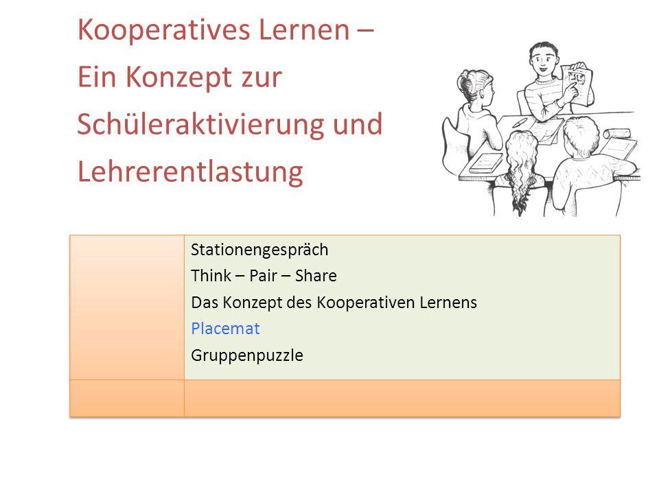 Kooperatives Lernen – Ein Konzept zur Schüleraktivierung und Lehrerentlastung