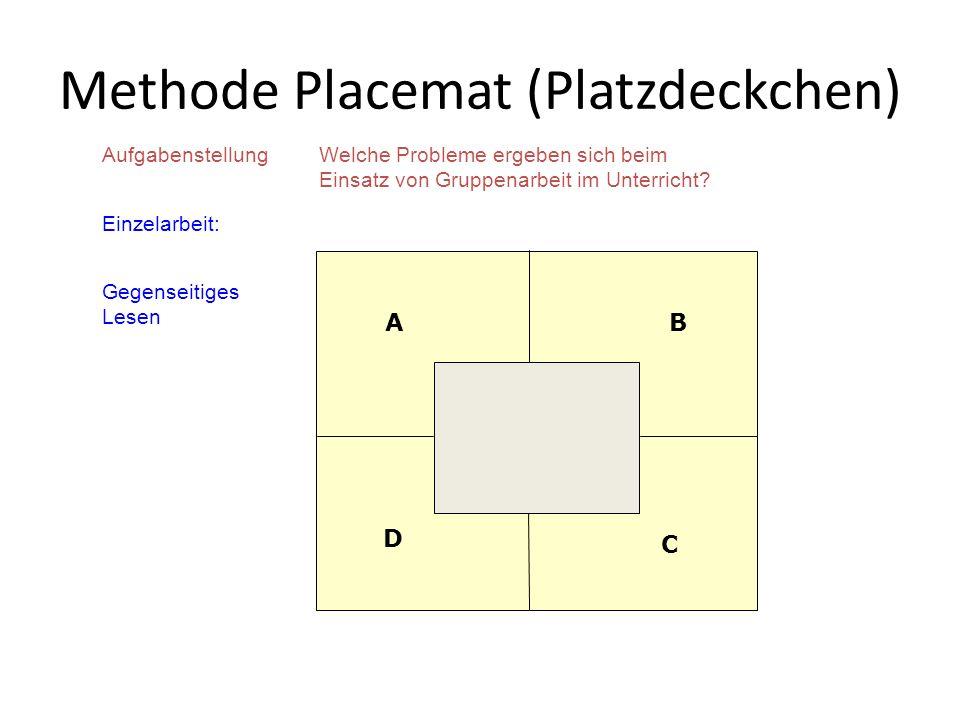 AufgabenstellungWelche Probleme ergeben sich beim Einsatz von Gruppenarbeit im Unterricht? Einzelarbeit: Gegenseitiges Lesen Methode Placemat (Platzde