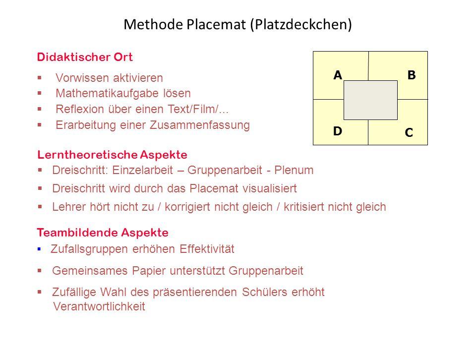 Didaktischer Ort  Vorwissen aktivieren  Mathematikaufgabe lösen  Reflexion über einen Text/Film/...  Erarbeitung einer Zusammenfassung Lerntheoret