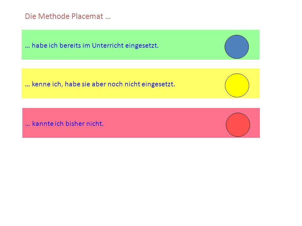 … kenne ich, habe sie aber noch nicht eingesetzt. … habe ich bereits im Unterricht eingesetzt. Die Methode Placemat … … kannte ich bisher nicht.