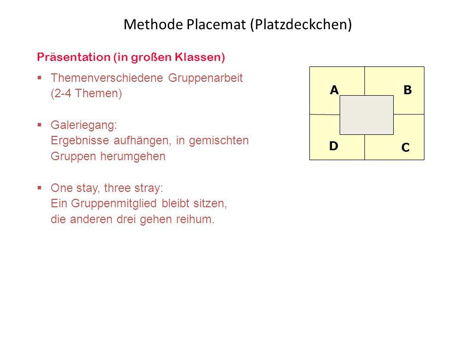 Präsentation (in großen Klassen)  Themenverschiedene Gruppenarbeit (2-4 Themen)  Galeriegang: Ergebnisse aufhängen, in gemischten Gruppen herumgehen