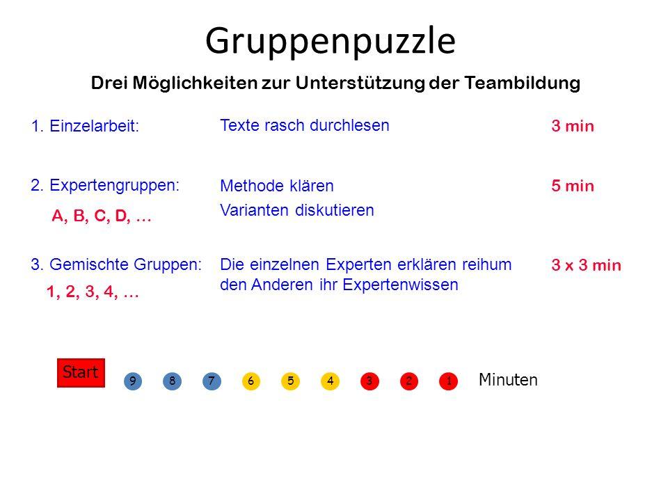Drei Möglichkeiten zur Unterstützung der Teambildung 1. Einzelarbeit: 2. Expertengruppen: 3. Gemischte Gruppen: Texte rasch durchlesen Methode klären