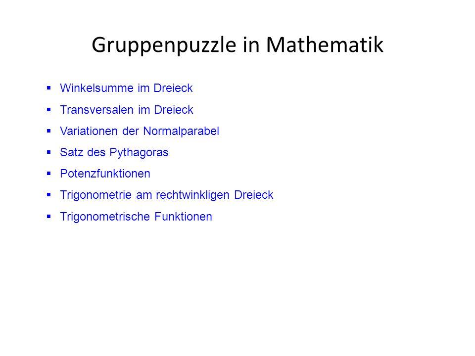 Gruppenpuzzle in Mathematik  Winkelsumme im Dreieck  Transversalen im Dreieck  Variationen der Normalparabel  Satz des Pythagoras  Potenzfunktionen  Trigonometrie am rechtwinkligen Dreieck  Trigonometrische Funktionen