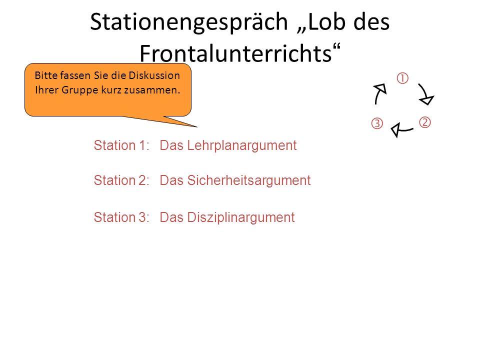 """Stationengespräch """"Lob des Frontalunterrichts """"  Nach 3 Stationen brechen wir aus Zeitgründen ab. Station 1:Das Lehrplanargument Station 2:Das Sicher"""