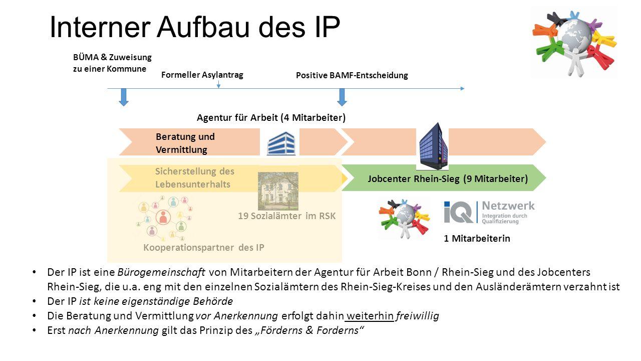 Interner Aufbau des IP Sicherstellung des Lebensunterhalts Beratung und Vermittlung 19 Sozialämter im RSK Agentur für Arbeit (4 Mitarbeiter) BÜMA & Zu