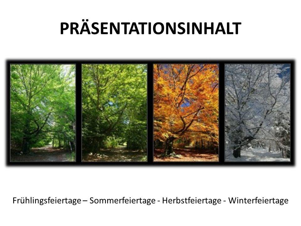 PRÄSENTATIONSINHALT Frühlingsfeiertage – Sommerfeiertage - Herbstfeiertage - Winterfeiertage