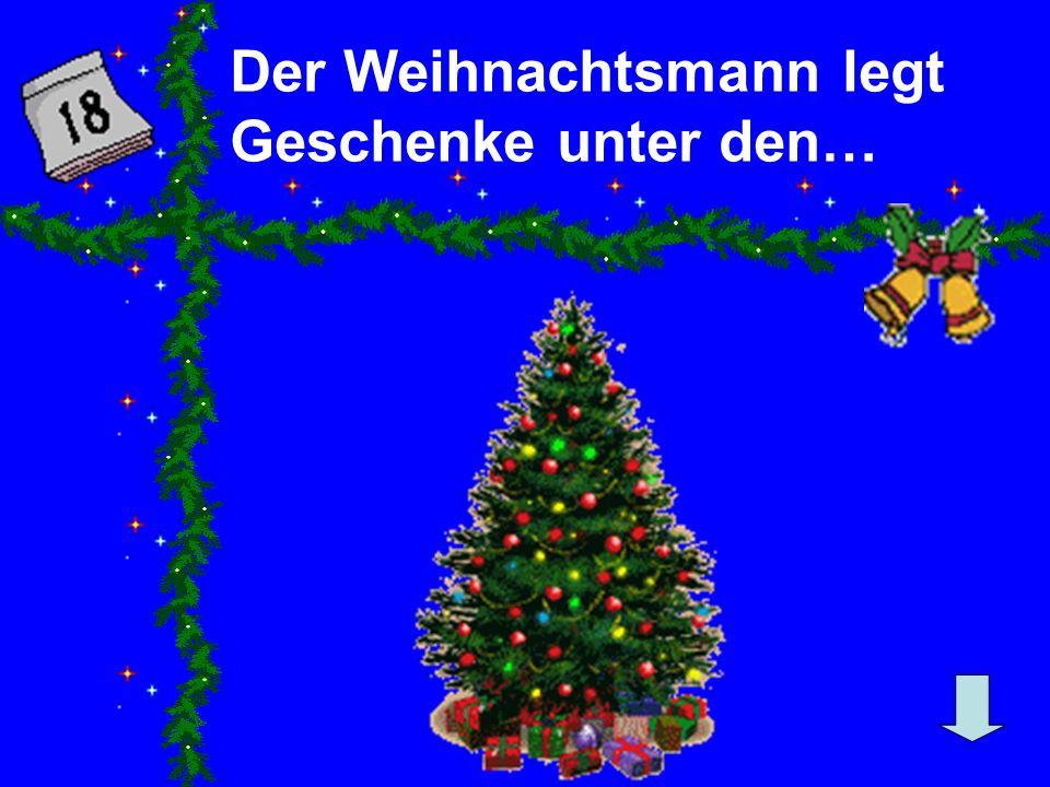 Der Weihnachtsmann legt Geschenke unter den…