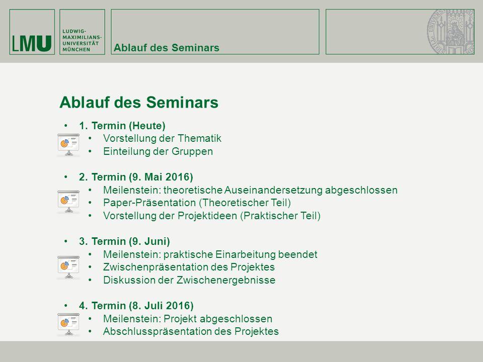 Ablauf des Seminars 1. Termin (Heute) Vorstellung der Thematik Einteilung der Gruppen 2.
