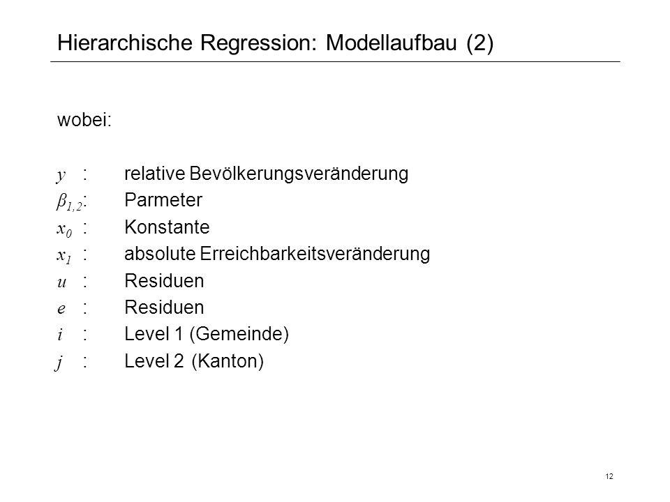 12 Hierarchische Regression: Modellaufbau (2) wobei: y :relative Bevölkerungsveränderung β 1,2 :Parmeter x 0 :Konstante x 1 :absolute Erreichbarkeitsv