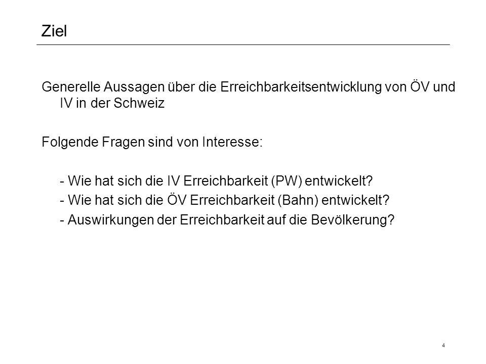 4 Ziel Generelle Aussagen über die Erreichbarkeitsentwicklung von ÖV und IV in der Schweiz Folgende Fragen sind von Interesse: - Wie hat sich die IV E
