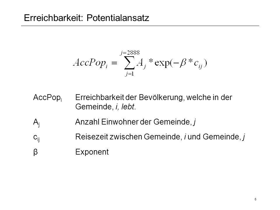 27 Anhang 2: Vergleich IV und ÖV Erreichbarkeitsentwicklung wo: DF = Development factor ÖV vs.