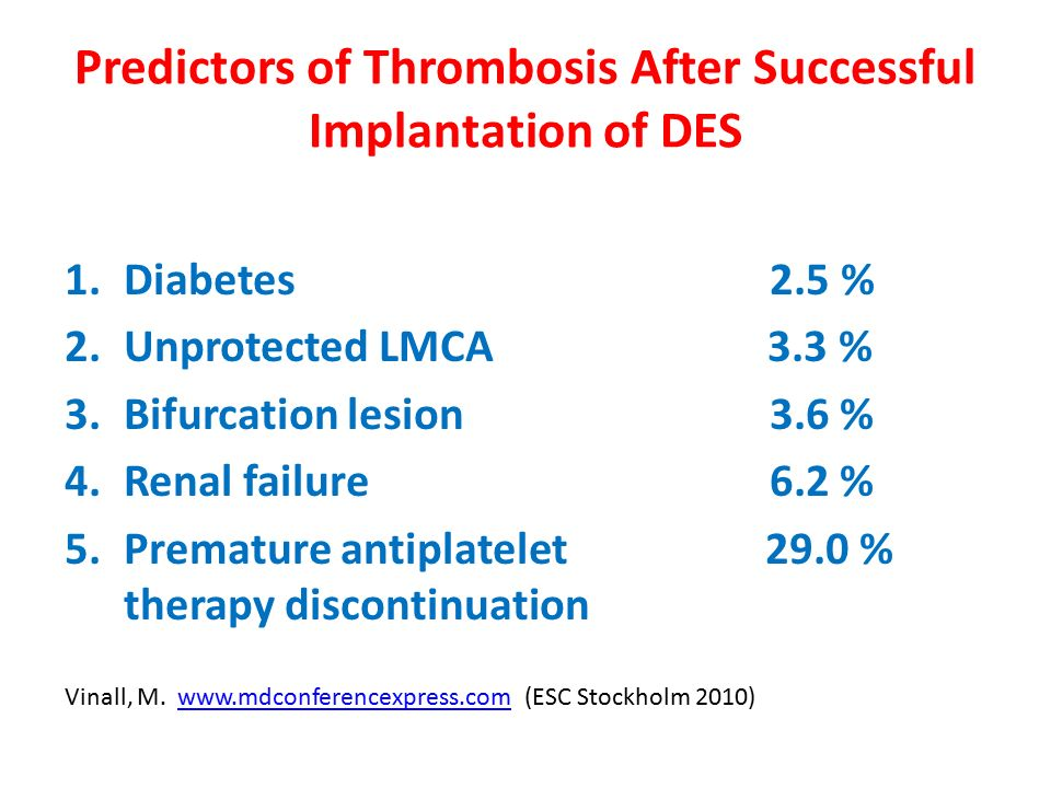 Predictors of Thrombosis After Successful Implantation of DES 1.Diabetes 2.5 % 2.Unprotected LMCA 3.3 % 3.Bifurcation lesion 3.6 % 4.Renal failure 6.2 % 5.Premature antiplatelet 29.0 % therapy discontinuation Vinall, M.
