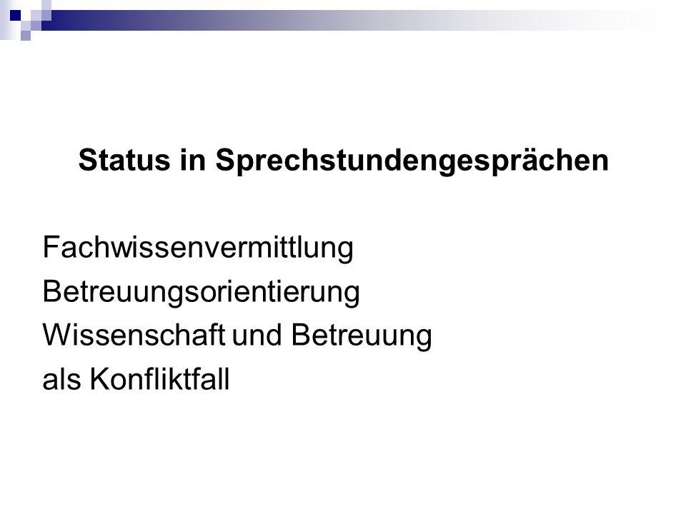 Status in Sprechstundengesprächen Fachwissenvermittlung Betreuungsorientierung Wissenschaft und Betreuung als Konfliktfall