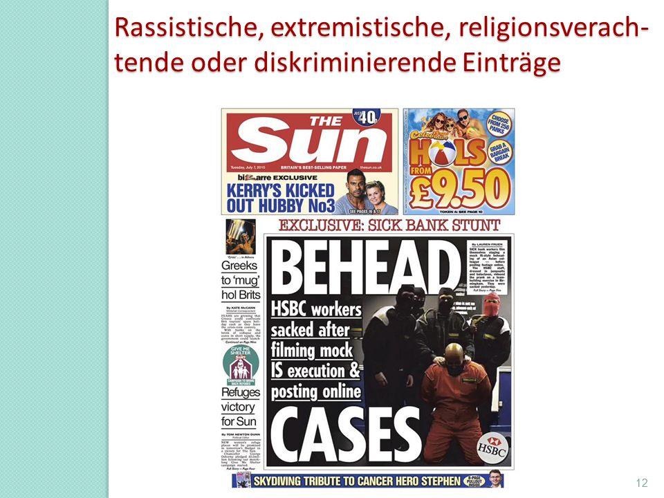 Rassistische, extremistische, religionsverach- tende oder diskriminierende Einträge Prof.