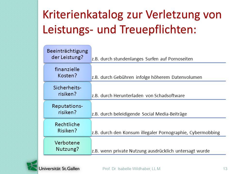 Prof. Dr. Isabelle Wildhaber, LL.M.13 Kriterienkatalog zur Verletzung von Leistungs- und Treuepflichten: z.B. durch stundenlanges Surfen auf Pornoseit