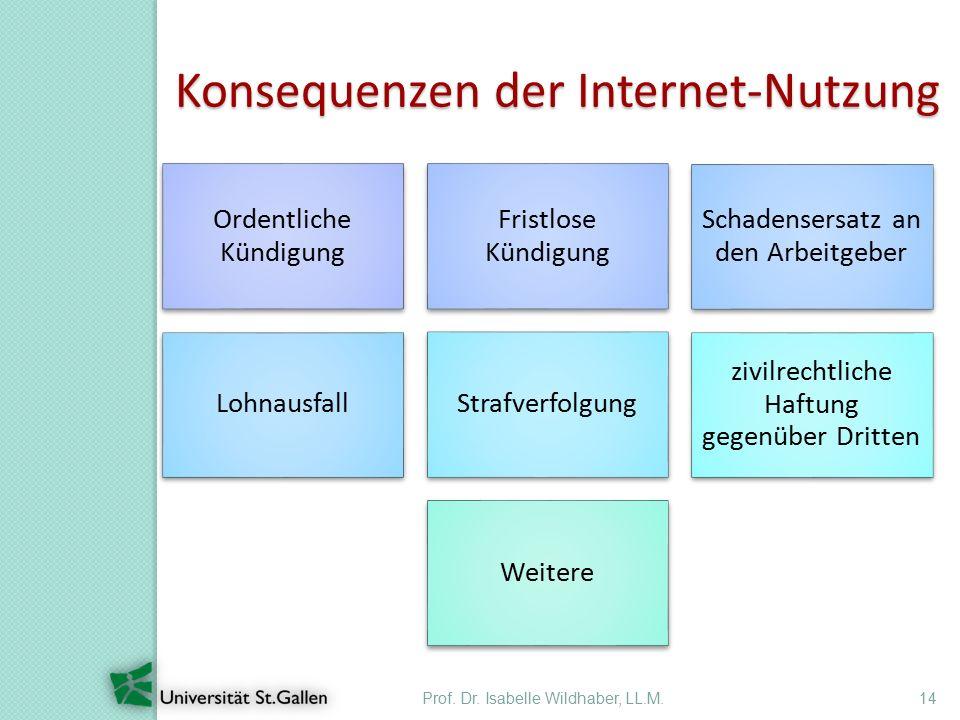 Prof. Dr. Isabelle Wildhaber, LL.M.14 Konsequenzen der Internet-Nutzung Ordentliche Kündigung Fristlose Kündigung Schadensersatz an den Arbeitgeber Lo