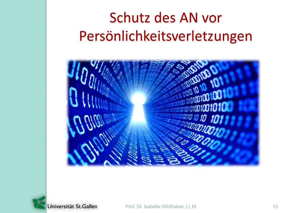 Prof. Dr. Isabelle Wildhaber, LL.M.15 Schutz des AN vor Persönlichkeitsverletzungen