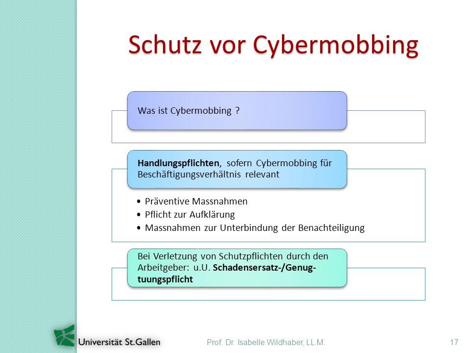 Prof. Dr. Isabelle Wildhaber, LL.M.17 Schutz vor Cybermobbing Was ist Cybermobbing ? Präventive Massnahmen Pflicht zur Aufklärung Massnahmen zur Unter