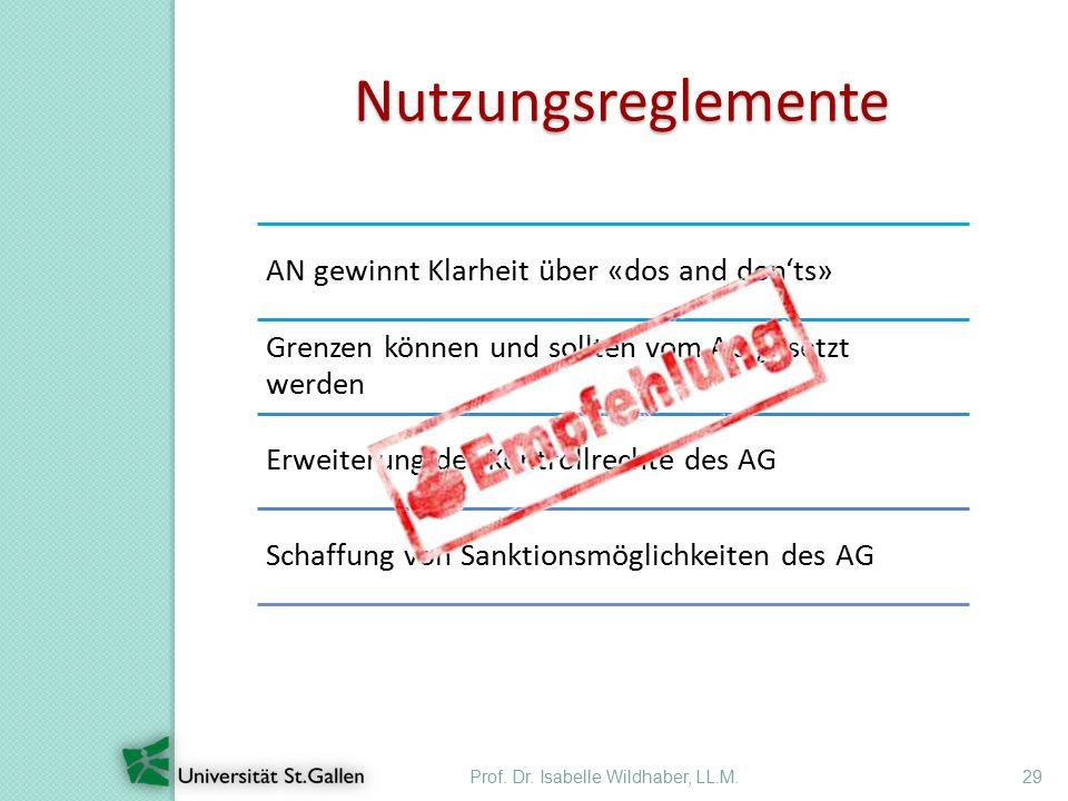 Prof. Dr. Isabelle Wildhaber, LL.M.29 Nutzungsreglemente AN gewinnt Klarheit über «dos and don'ts» Grenzen können und sollten vom AG gesetzt werden Er