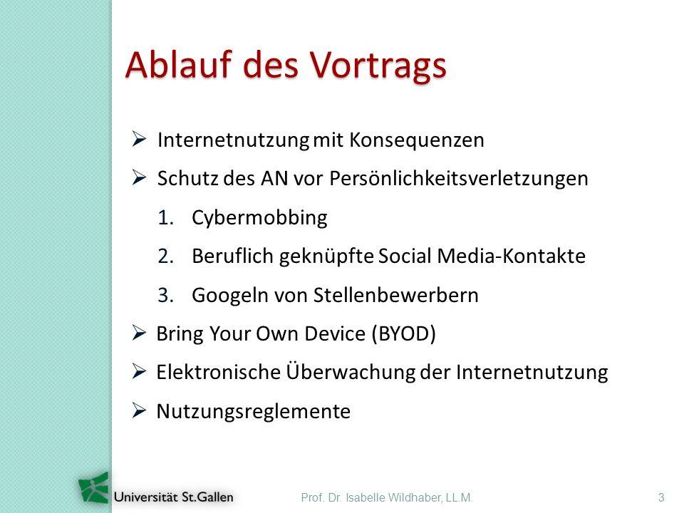 Ablauf des Vortrags Prof. Dr. Isabelle Wildhaber, LL.M.3  Internetnutzung mit Konsequenzen  Schutz des AN vor Persönlichkeitsverletzungen 1.Cybermob