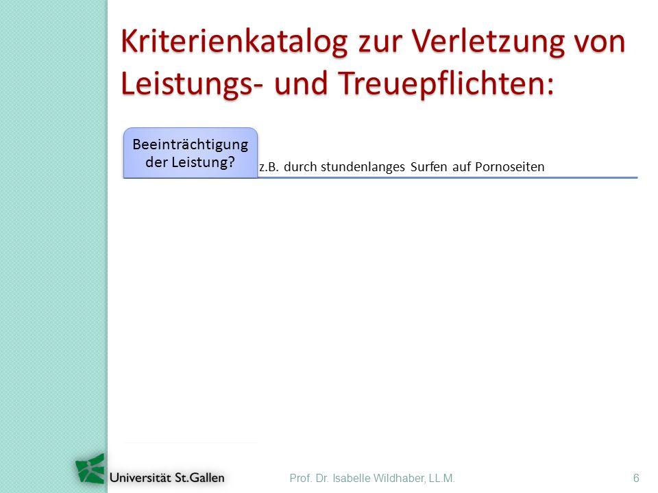 Prof. Dr. Isabelle Wildhaber, LL.M.6 Kriterienkatalog zur Verletzung von Leistungs- und Treuepflichten: z.B. durch stundenlanges Surfen auf Pornoseite