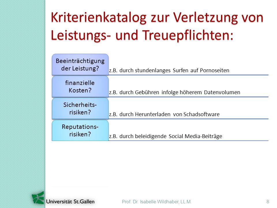 8 Kriterienkatalog zur Verletzung von Leistungs- und Treuepflichten: z.B.