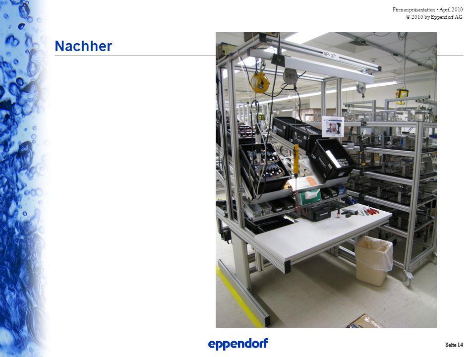 Firmenpräsentation  April 2010 © 2010 by Eppendorf AG Seite 14 Nachher