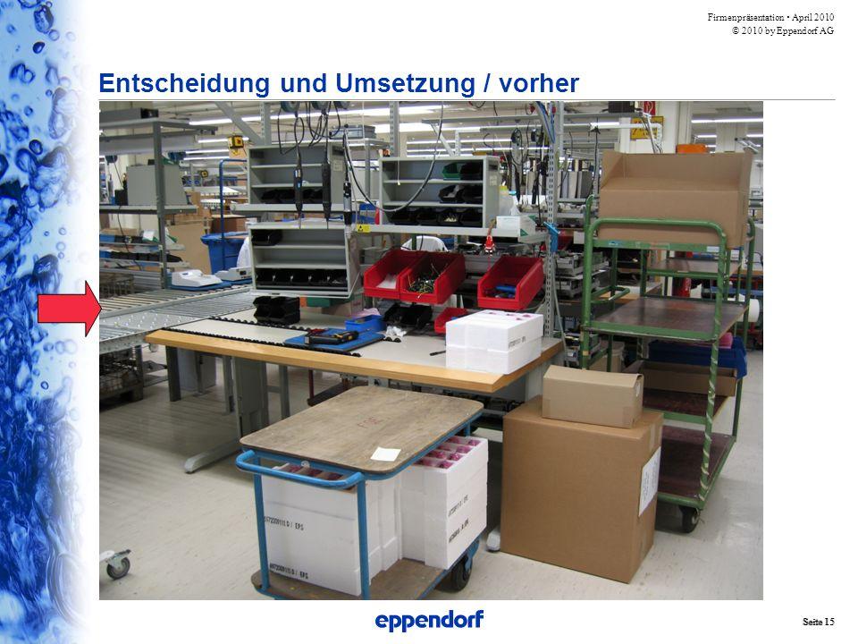Firmenpräsentation  April 2010 © 2010 by Eppendorf AG Seite 15 Entscheidung und Umsetzung / vorher