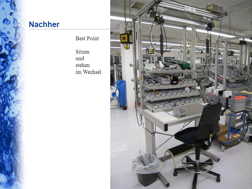 Firmenpräsentation  April 2010 © 2010 by Eppendorf AG Seite 16 Nachher Best Point Sitzen und stehen im Wechsel